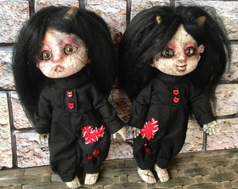 Demon dolls, hand altered, OOAK Doll, devil doll, painted doll, doll collector, gothic doll, scary doll, horror doll, bjd doll