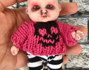 Demon doll, hand altered, OOAK Doll, Horror Baby, painted doll, doll collector, haunted doll, scary doll, horror doll, baby doll