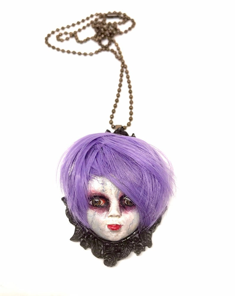 Doll Head necklace resin jewelry spooky doll halloween image 0