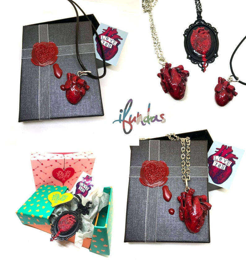 Heart necklace in box anatomical heart resin jewellery image 0
