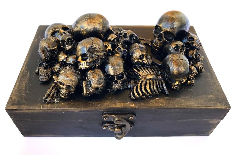 Wooden Skull Box wood skull jewellery box Wooden Storage image 0