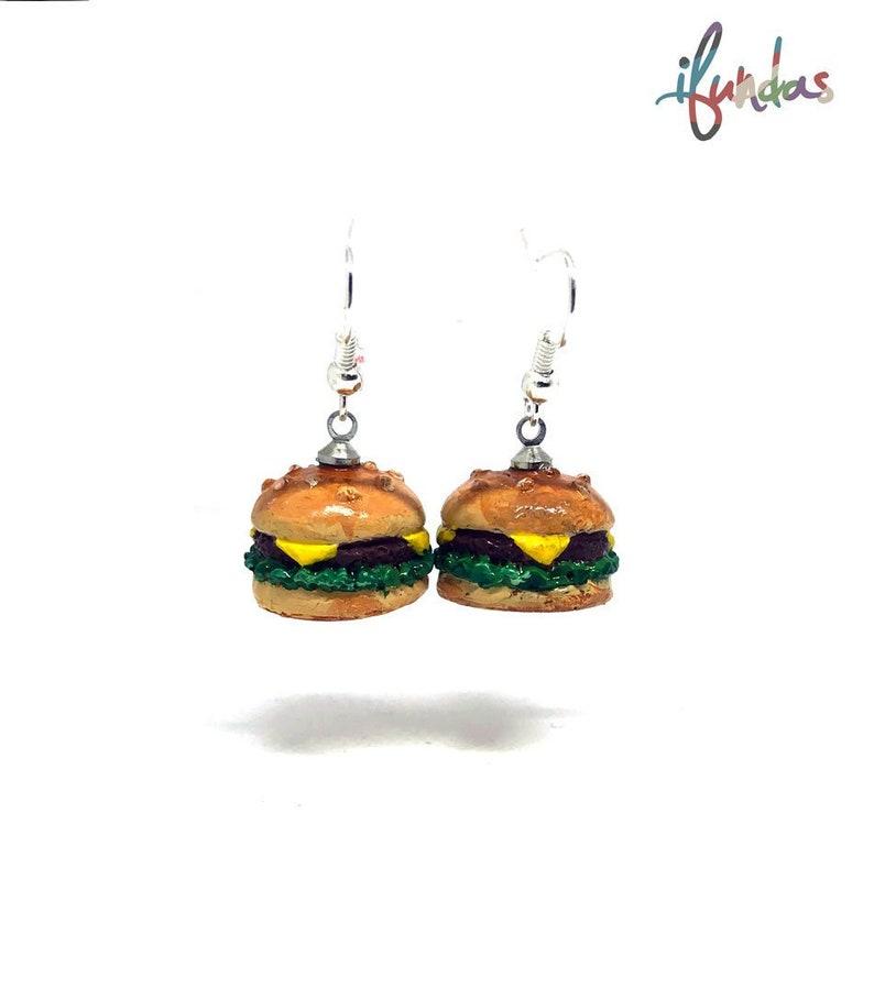 Hamburger Earrings resin jewelry burger earrings food image 0