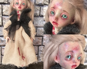 Altered doll, 12inch 30cm,hand altered, OOAK Doll, Bjd Spooky, painted doll, doll collector, gothic doll, scary doll, horror doll, bjd doll