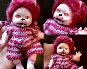 Cheshire Cat doll, hand altered, OOAK Doll, Horror Baby, painted doll, doll collector, haunted doll, scary doll, horror doll, baby doll