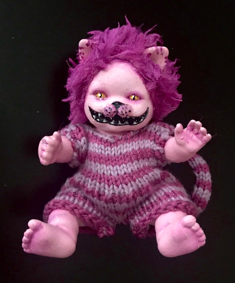 Handpainted altered Doll cheshire cat doll OOAK spooky Doll image 0