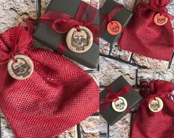 4 Handmade tiny skull tags. Ready to post.