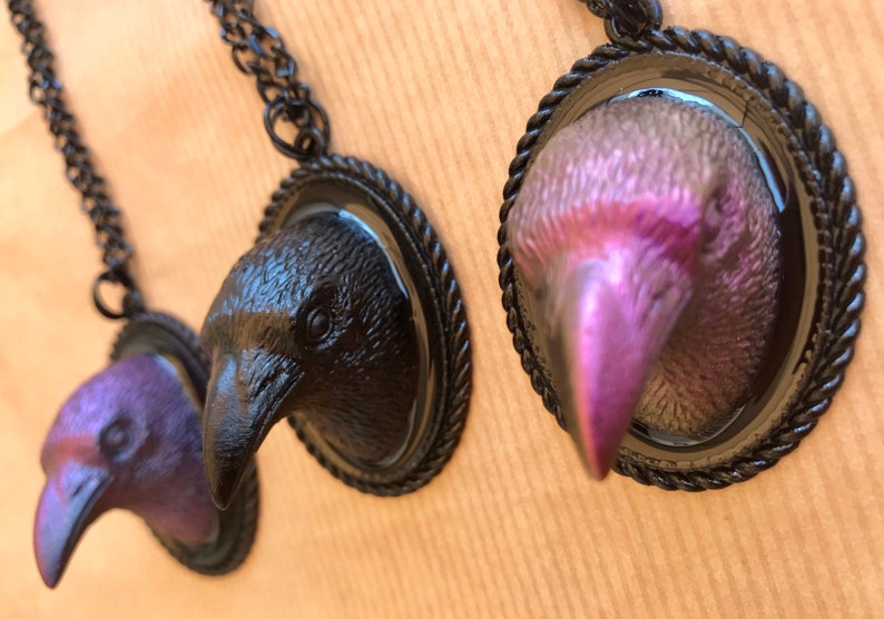 Crow raven bird Necklace Resin bird crow raven necklace image 0