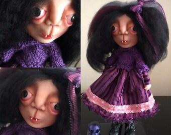 OOAK Art Doll, Artistic Doll, Polymer Doll, creepy cute doll, gothic doll, handmade doll