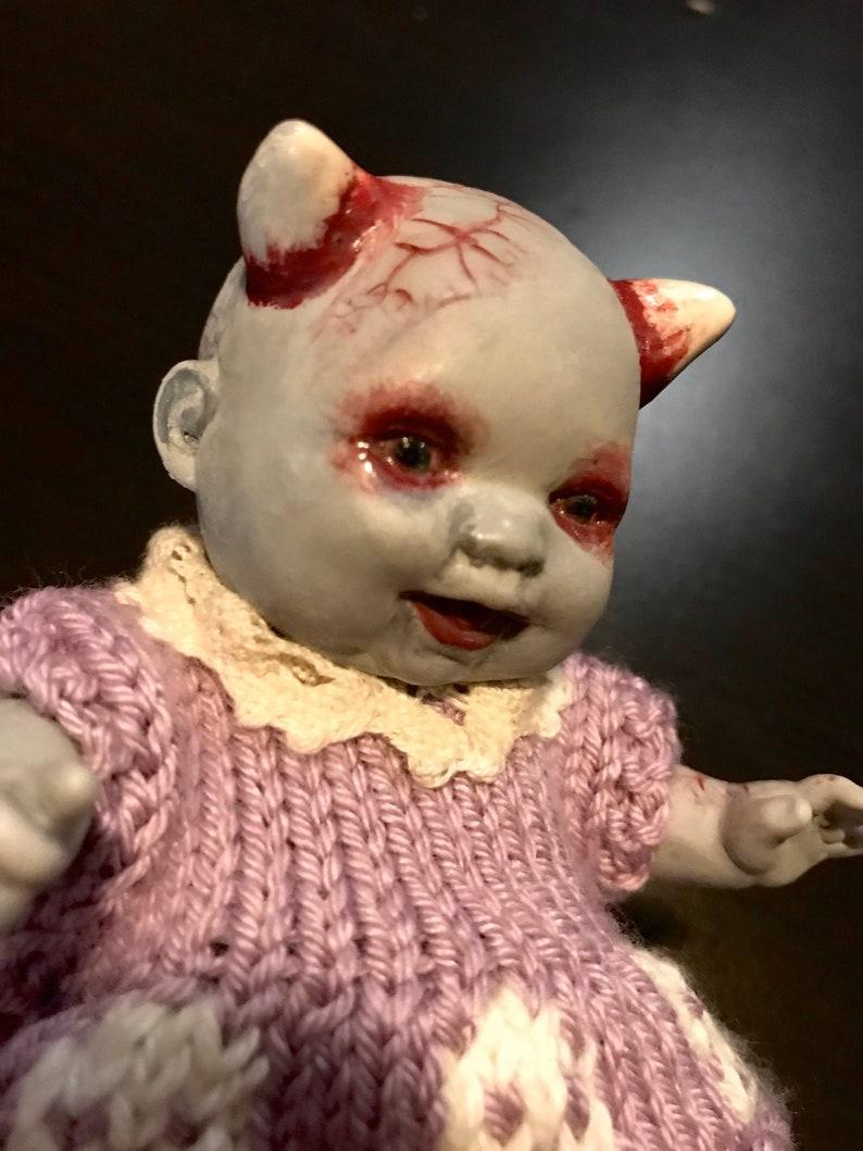 Demon doll hand altered OOAK Doll Horror Baby painted image 0