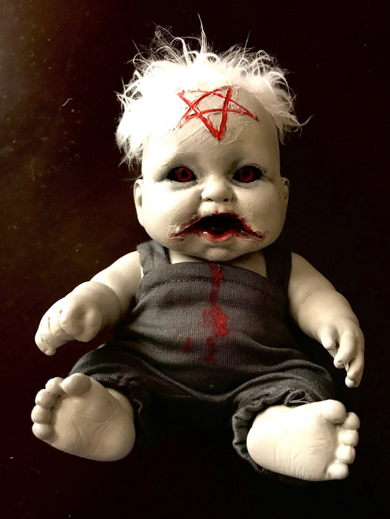 Horror Doll OOAK Doll possessed baby painted doll doll image 0