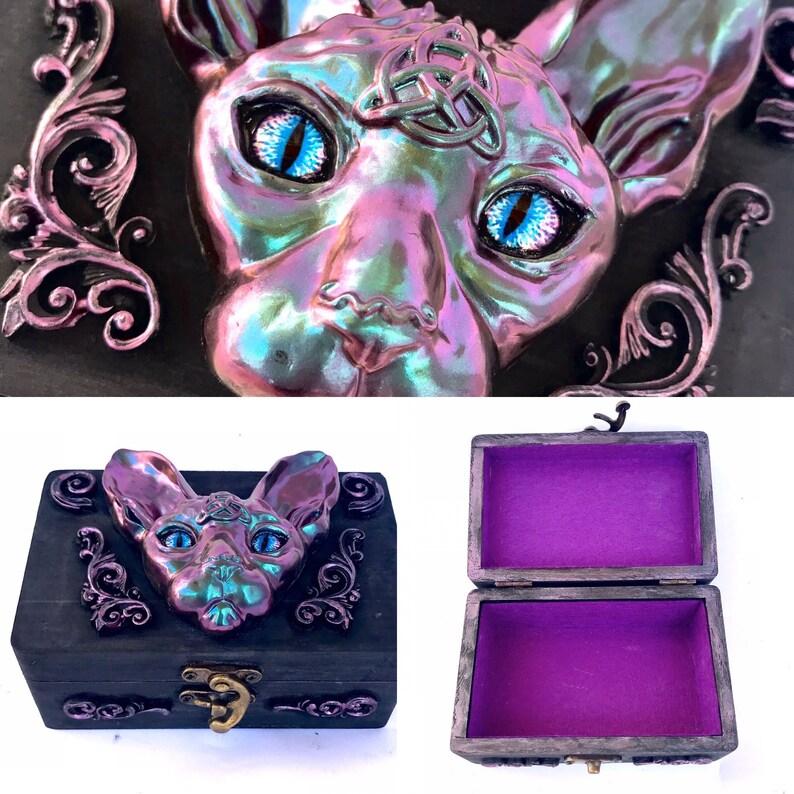 Wooden Cat Box Sphinx cat wood jewellery box Wooden Storage image 0
