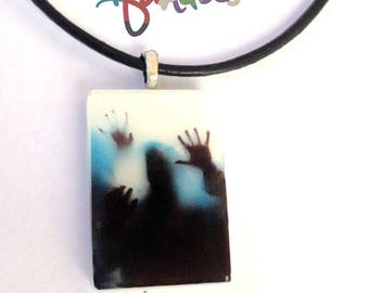 Zombie Pendant Necklace, Glow in The Dark, Resin Jewelry, Zombie Apocalypse, zombie jewelry, zombie necklace, halloween, Undead Walking Dead