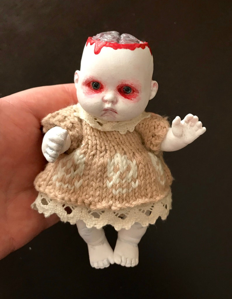 OOAK Horror Doll possessed baby painted doll doll image 0
