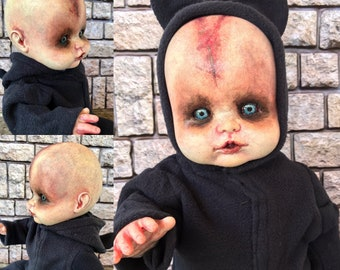 OOAK doll, spooky doll, Scary Horror Doll, possessed baby, OOAK painted doll, doll collector, haunted doll, living dead, gothic doll
