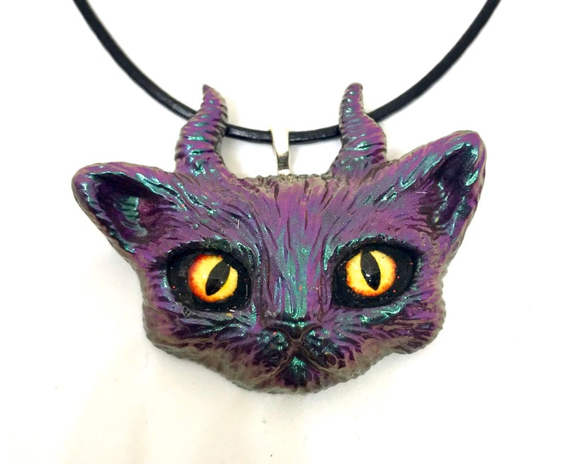 Kitty necklace resin jewellery kitty cat pendant resin cat image 0