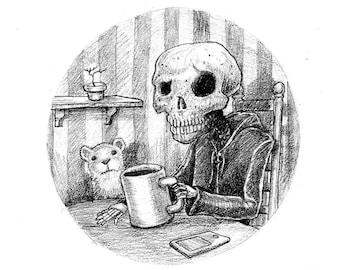 Death takes a coffee break 11x17 print