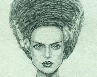 Bride of Frankenstein Elsa Lancaster portrait 11x17