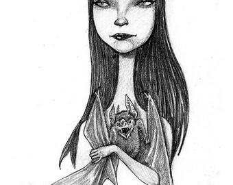 Vampiregirl holding a bat print