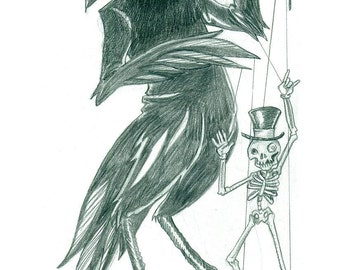 """Raven with a marionette of death 11x17""""print"""