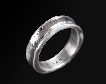 Rough Looking Sterling Silver Wedding Ring Curved Wedding Etsy