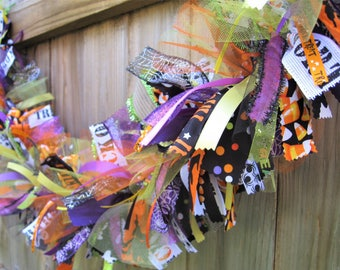 Halloween Garland, Halloween Banner, Halloween Decor, Halloween Bunting, Fabric Garland, Ribbon Garland, Fall Garland, Halloween Mantel Swag