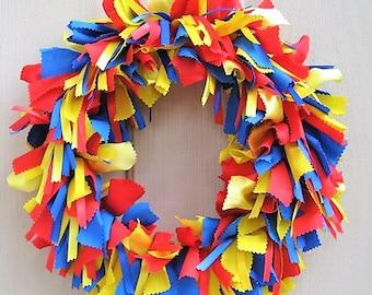 Boys Room Decor, Kids Birthday Party Decor, Playroom Decoration, Classroom Decor, Superhero Baby Shower Decor, Blue Red Yellow Wreath