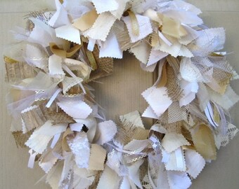 Wedding Wreath, Wedding Decorations, Boho Wedding, Rustic Wedding Decor, Shower Decor, White Lace Door Wreath, Country Beach Prairie Wedding