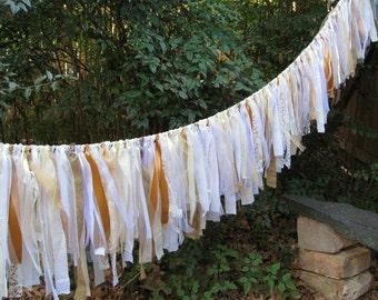 Wedding Decoration, Wedding Backdrop, Wedding Banner, Rustic Wedding Aisle Decor, Wedding Fabric Garland, White Bunting, Outdoor Wedding