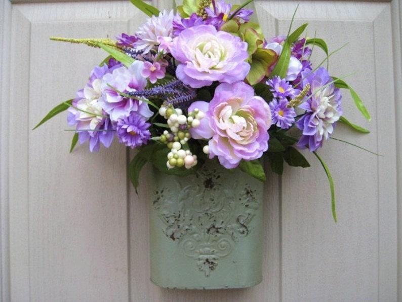 Lavender Floral Wreath Front Door Decoration Purple Door Etsy