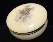 Genuine Alabaster Trinket Box, Italian Marble, Hinged Top with Violets Bouquet, 1960 39 s