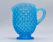 Vintage Fenton Glass Company - 1940 s Hobnail - Blue OPALESCENT- Creamer - Small Pitcher