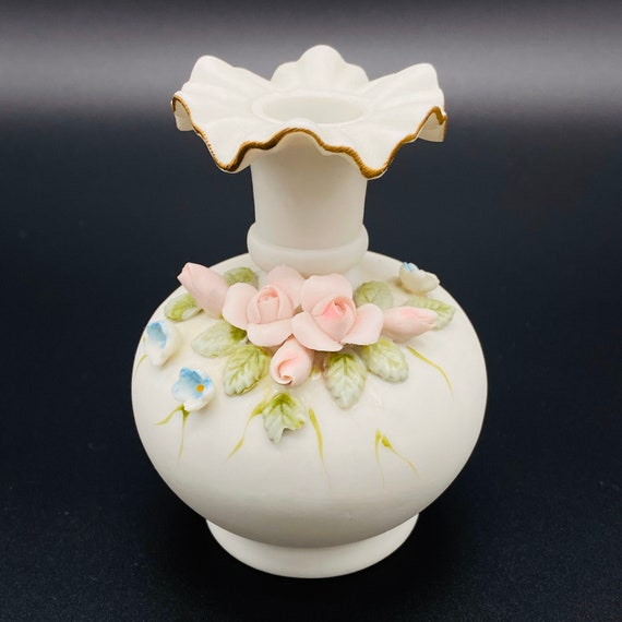 Bud Vase with Hand Applied Flowers Vintage Kelvin Fine China