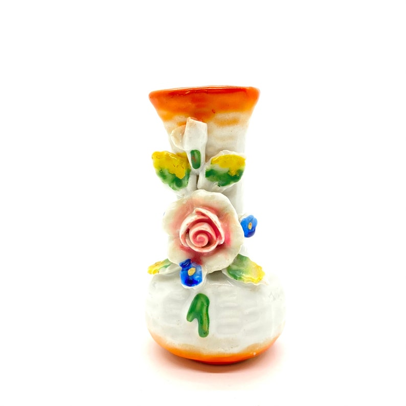 With Hand Applied Flowers and Leaves Made in Occupied Japan Small Bud Vase Porcelain Colorful Hand Painted Vintage