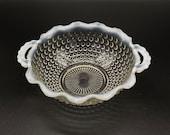 Vintage - Anchor Hocking - Moonstone - Handled - Crimped Rim - Opalescent - Hobnail Bowl