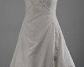 Ivory Shantung Satin Wedding Gown with sweetheart neckline and cross bodice, trimmed with beaded lace