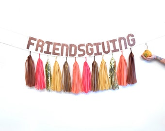 Thanksgiving decor - Friendsgiving Banner - Rose Gold Tassel Garland, Thanksgiving Wreath, Autumn Fall Garland, Rustic Wedding Decorations