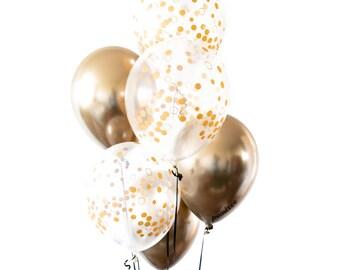 Gold Chrome Confetti Balloon Bouquet - Gold Balloons, Birthday Party Decoration, Wedding Decor, Baby shower,  Bridal Shower, Bachelorette