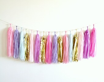 Unicorn Tassel Garland - Pastel Pink Purple Blue and Gold 1st Party Decor, Ice Cream, high chair banner, Mermaid, Baby Shower, Bachelorette