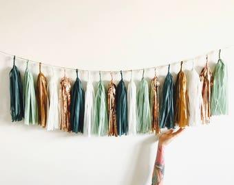 Sage Green, Rose Gold and Copper Tassel Garland - Eucalyptus Baby Shower Decorations, Teal Wedding Decor, Bridal Shower, High Chair Banner