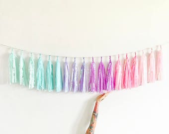 Unicorn Rainbow Sparkle Garland - Iridescent Pastel High Chair Banner, 1st Birthday Decorations, Mermaid Baby Shower, Bachelorette Party