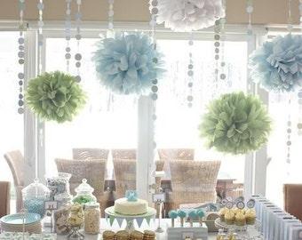 bridal shower decorations tissue paper poms and garland bridal shower decor buffet table decor wedding decor