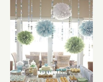 ed554fd20 Baby Shower Decor Pack ... tissue paper poms and garland / first birthday  party / dessert buffet table backdrop // sprinkle gender reveal