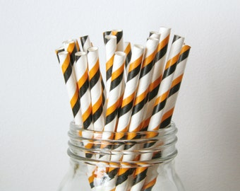 Halloween Straws, Black and Orange Halloween Party Decorations