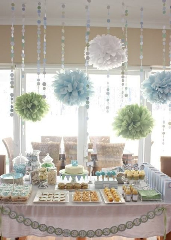 Stupendous Bridal Shower Decorations Tissue Paper Poms And Garland Home Interior And Landscaping Ologienasavecom