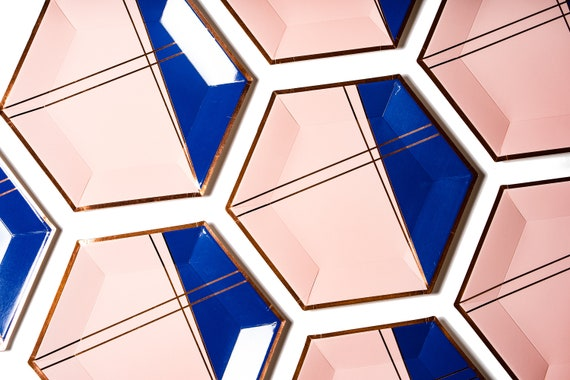 Navy Blue Rose Gold Dusty Pink Paper Plates Colorblock Hexagon