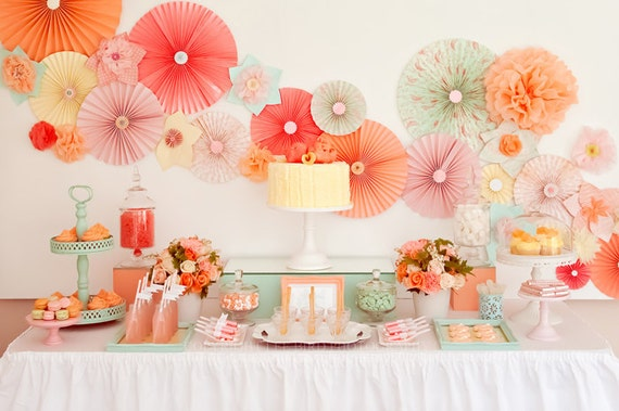 Party Decor Set Pick Your Colors Engagement Party Wedding Birthday Baby Shower Ideas Bridal Shower Table Backdrop