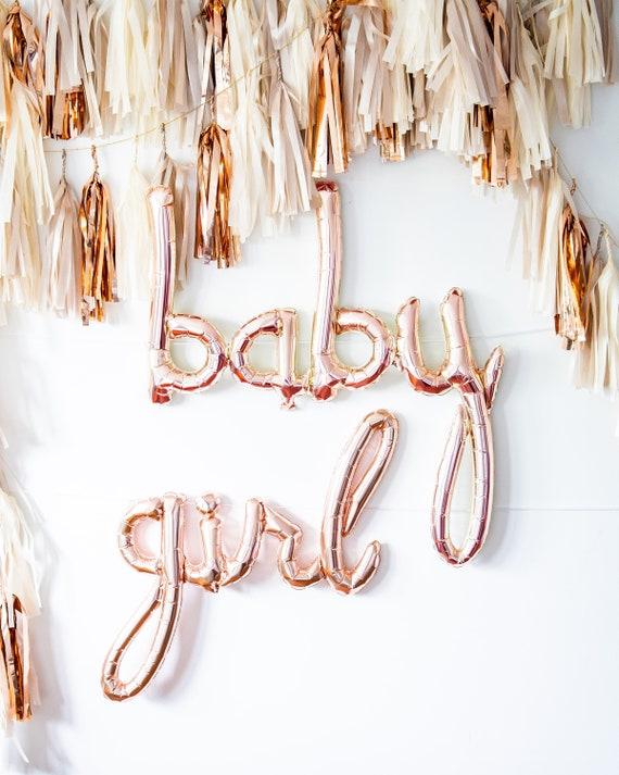 Rose Gold Baby Girl Balloon Garland Pink Baby Shower Decor Etsy
