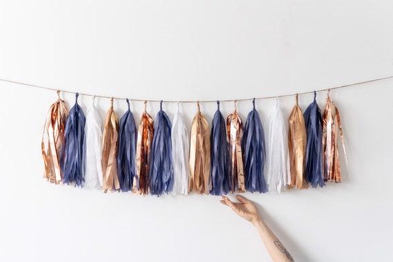 Navy Blue Rose Gold And Copper Shimmer Tassel Garland Baby Shower