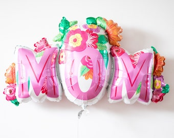 Mothers Day Balloon - Floral Pink Mom Balloon, Mother's Day Gift, Party Decoration, Jumbo Foil Balloon, Mothers Day Gift Ideas