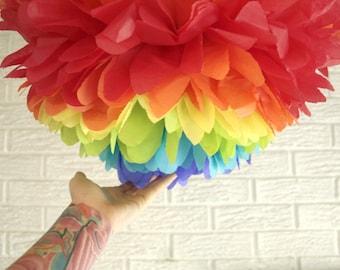 nursery decor paper mobile ...  rainbow remix  ... 1  Tissue paper pom // nursery // baby shower // birthday party // gender reveal //